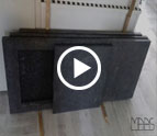 Steel Grey Granit Arbeitsplatten und Sockelleisten